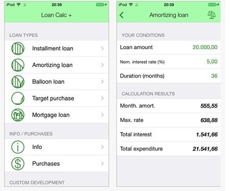 application to calculate loan costs